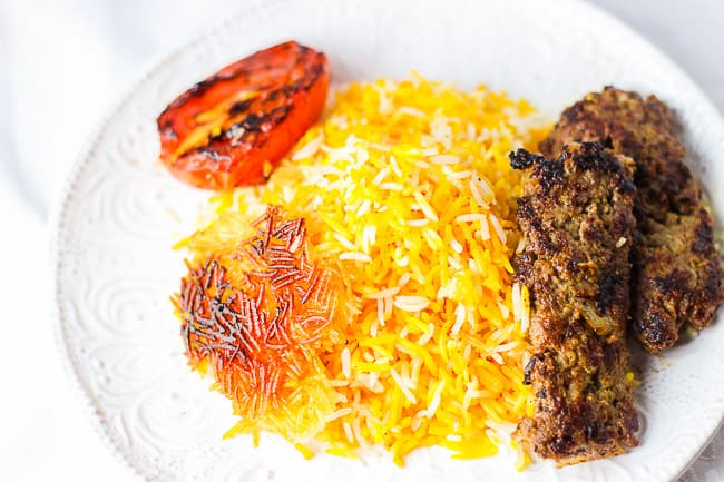 Stovetop Beef Kabob and Basmati Rice (Chelow Kabob Deegi)