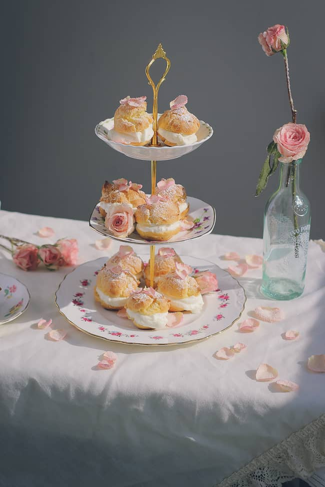 Rosewater Cream Puffs with Sugared Rose Petals-38