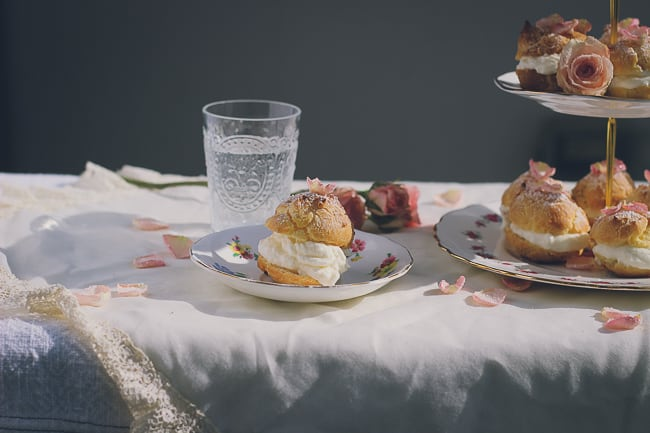 Rosewater Cream Puffs with Sugared Rose Petals-7