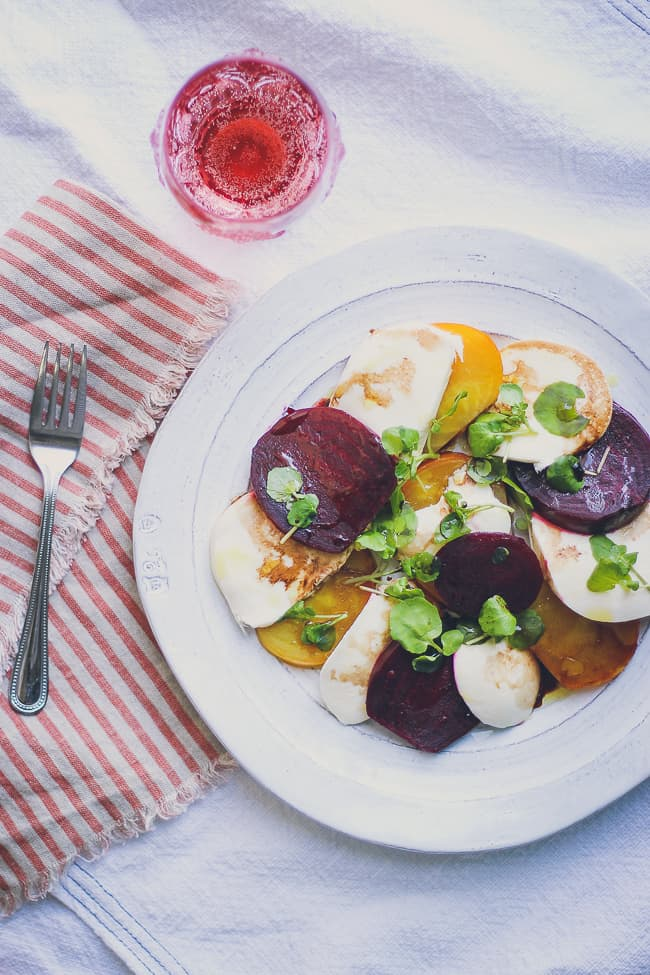 organic beet and fresh mozzarella with watercress salad-11