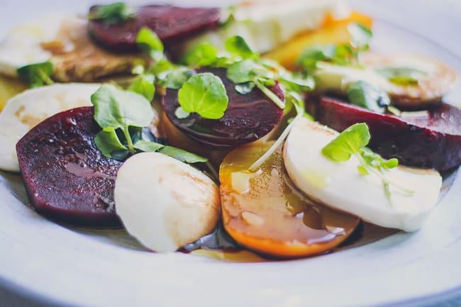 organic beet and fresh mozzarella with watercress salad-3
