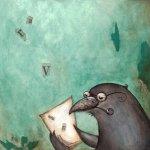 Lisa's bird, book in hand