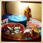 tray of special supplies, with doll taskmaster