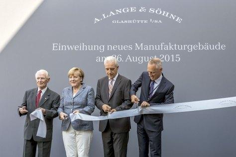 A Lange Sohne Inauguración nuevo edificio - Angela Merkel con Walter Lange y Wilhelm Schmid