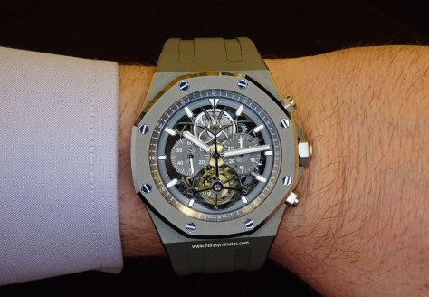 Audemars Piguet Royal Oak Tourbillon Chronograph en la muñeca 3 Horas y Minutos