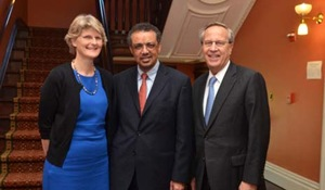 Tedros Adhanom Ghebreyesus (center), Ethiopia's minister of health, is pictured here with Elizabeth Bradley, faculty director of the Global Health Leadership program, and President Richard C. Levi