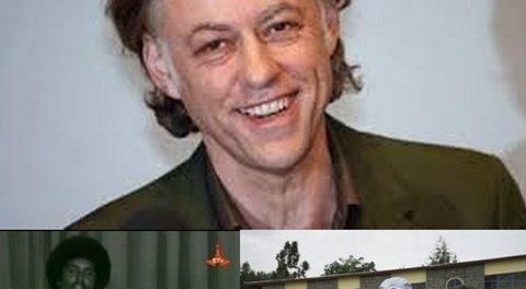 Photo - Bob Geldof, Kiros Alemayehu, Max and Kathryn Robinson