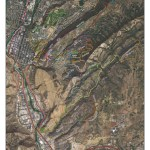 This map of trails in and around Horse Gulch by GIS Specialist Ben Bain has topography lines.