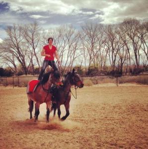 Holly Smith riding Roman style