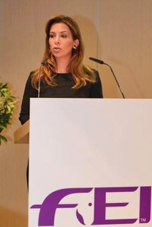 FEI President HRH Princess Haya announces to the FEI Sports Forum that the Saudi Equestrian Fund will provide financial support for the Nations Cup series.