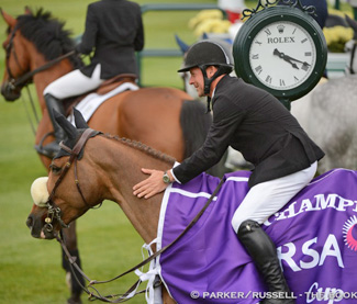 "Eric Lamaze and Coriana van Klapscheut won the $32,000 RSA Cup on June 14 at the CSI4*-W Spruce Meadows 'Continental' tournament in Calgary, AB."" Photo Credit – Parker/Russell – The Book LLC"
