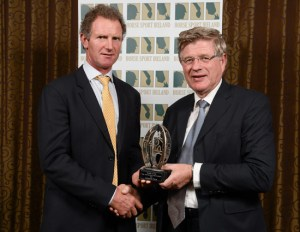 Edward Doyle from Naas, Co. Kildare, receiving the award for Breeder of the Top International Showjumper from Jim Beecher, right, chairman of the Irish Horse Board and chairman of Horse Sport Ireland's Breeding Sub-Board, at the Horse Sport Ireland Breeders Awards. Catherine and Edward Doyle bred the Irish Sport Horse stallion Flexible.