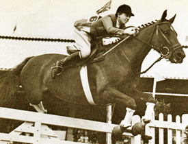 Iris Kellett and Rusty winning the Dublin Grand Prix in 1948.
