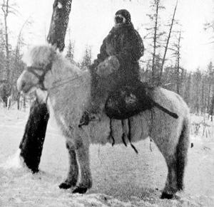 Yakut horseman riding during the winter of 1905.