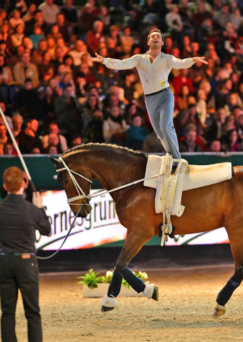 World Vaulting Champion Nicolas Andreani (FRA) with Radix SB, lunged by Patric Looser, won the fourth leg of FEI World Cup™ Vaulting 2012/2013 in Leipzig (GER). (