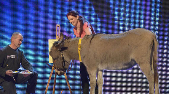 Patty with her assistant, Vicky, on Britain's Got Talent.