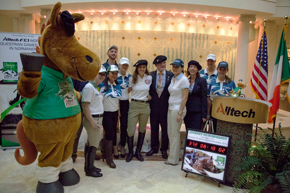 Dr Pearse Lyons, president and founder of Alltech, celebrates the one year countdown to the Alltech FEI World Equestrian Games 2014 in Normandy with mascot Norman and Alltech employees at the company's headquarters in Lexington, Kentucky.