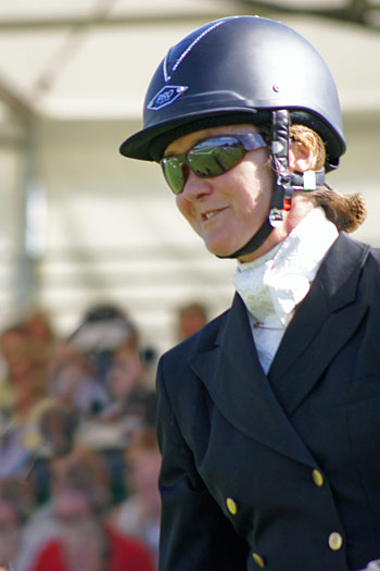 British eventer Joy Daws shows some helmet bling at Burghley last year.