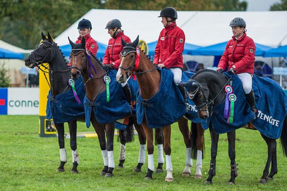 The winning German team of Julia Krajewski and Lost Prophecy, Ingrid Klimke and Hale Bob, Peter Thomsen and Horseware's Barny, and Michael Jung with FischerRocana FST.