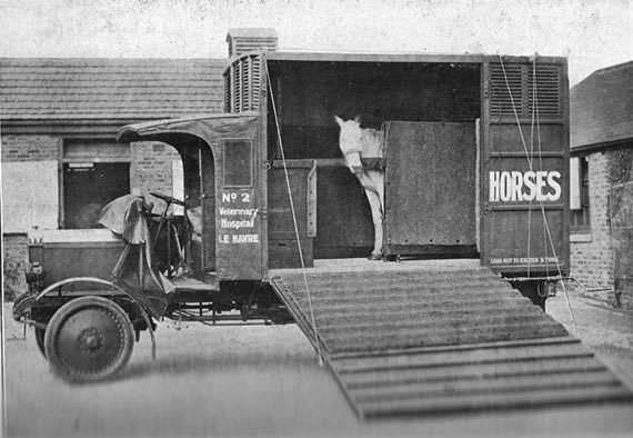 The first motorised ambulance used to transport injured war horses from the battlefields of World War 1 to veterinary hospitals. Photo: The Horse Trust