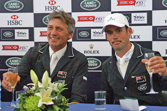 Andrew Nicholson and Jonathan Paget after the Burghley Horse Trials.