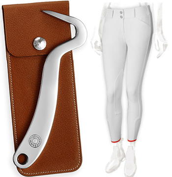 The Hermes Clou de Selle hoofpick and the Jump breeches, which come in black or white.