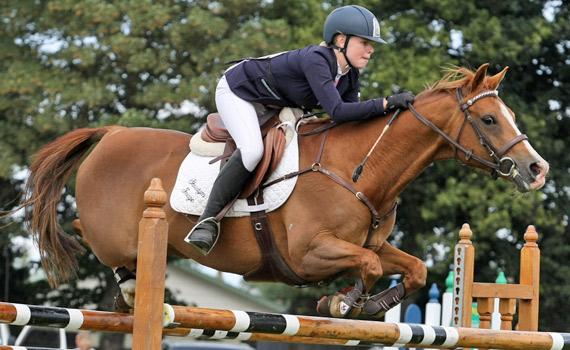 Jamiee Bird and Showtym Image on their way to winning the pony grand prix at Ashburton on Sunday.
