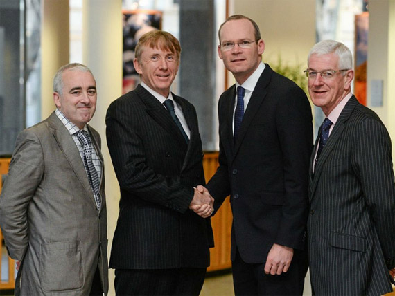 Minister for Agriculture, Food & the Marine Simon Coveney T.D., with, from left, Dr. Cathal O'Donoghue, Head of Rural Economy and Development Programme, Teagas; Chairman of Horse Sport Ireland Professor Patrick Wall and Michael Duffy, CEO of the RDS, at the launch of the Sport Horse Industry Strategic Planning Process. Department of Agriculture, Food & the Marine, Kildare Street, Dublin.