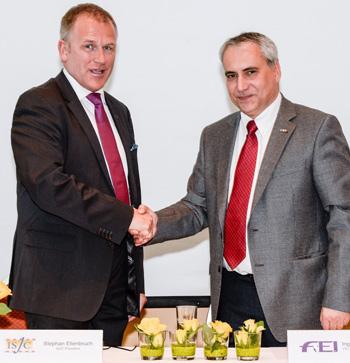 ISJC President Stephan Ellenbruch (left) and FEI Secretary General Ingmar De Vos at the signing of the ISJC's Memorandum of Understanding with the FEI, during an ISJC FEI Refresher Seminar for FEI Judges in Basel, Switzerland.