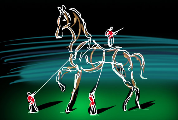 Concept of an element of the WEG 2014 Opening Ceremony:  Horse Wired.