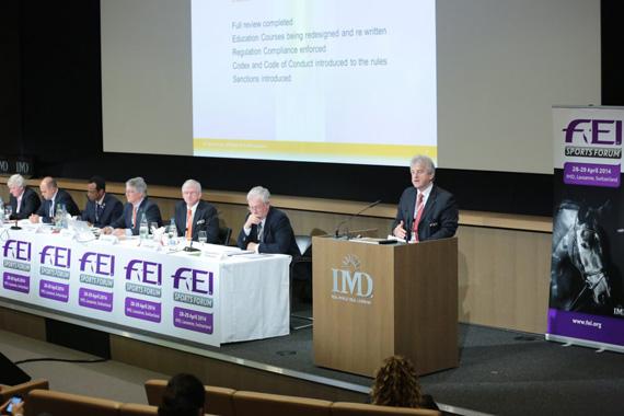 FEI endurance director Ian Williams addresses the endurance session during the FEI Sports Forum 2014.  Photo: (c) Germain Arias Schreiber/FEI