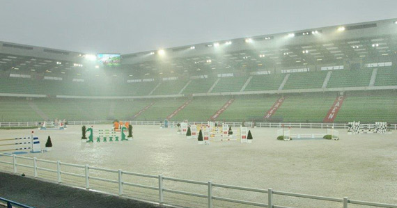 Torrential rain during Thursday's final jumping test event before the Alltech FEI World Equestrian Games inAugust, gave organisers and athletes anopportunity to see how the footing in both the competition and training arenas at d'Ornano Stadium in Caen would perform in tough conditions.
