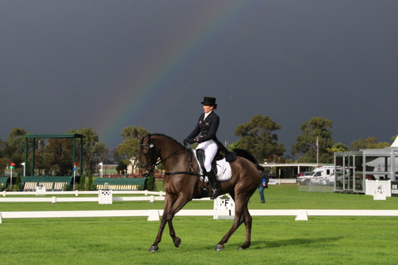 Melbourne weather was varied today as the CCI3* riders completed the dressage phase at the MIHT. Pictured is Katja Weimann and BP Cosmopolitan, who are in seventh place going into Sunday's cross-country.