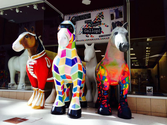 Hamilton, in Scotland, has come alive with colourful Clydesdales. Photo: Ready Steady Gallop!