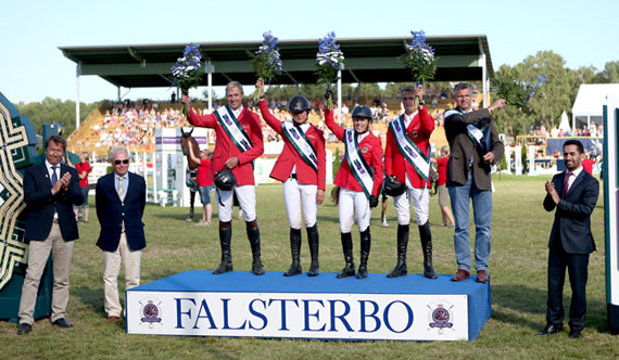 Team Germany on the podium following their victory in Falsterbo, Sweden, L-R: Andre Thieme, Katrin Eckermann, Meredith Michaels-Beerbaum, Patrick Stuehlmeyer and Chef d'Equipe Otto Becker. Left of podium - Anders Mellberg, President Swedish NF and Jan Olaf Wannius, President Falsterbo Horse Show. Right of podium - Mr Adil Alfwzan, Deputy Chargé d'Affaires Saudi Arabian Embassy in Sweden.