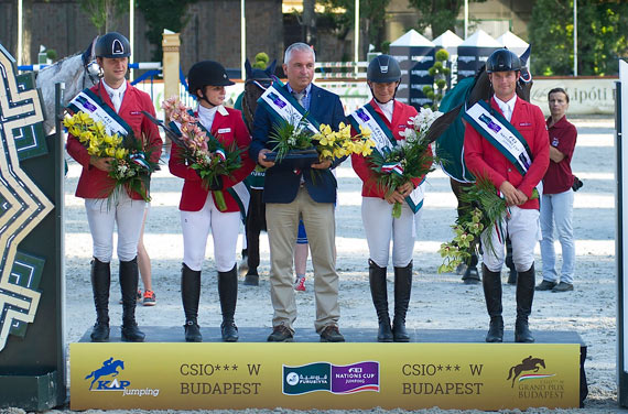 The Czech Republic team on the podium, from left, Ales Opatrny, Emma Augier de Moussac, chef d'quipe Martin Ohnheiser, and Zuzanna Zelinkova, and Ondrej Zvara.