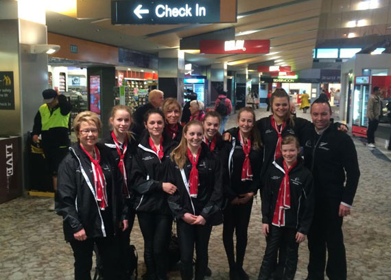The Kapiti Vaulting club team, pictured with ESNZ's Warrick Allen, head to the departure lounge.