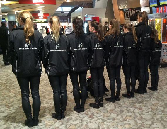 New Zealand's WEG vaulting team show their colours.