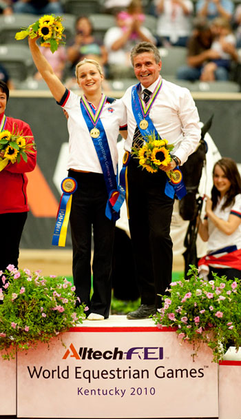 Great Britain's Joanne Eccles, pictured with her father John who is her lunger, won individual female Vaulting gold at the 2010 Games in Kentucky.