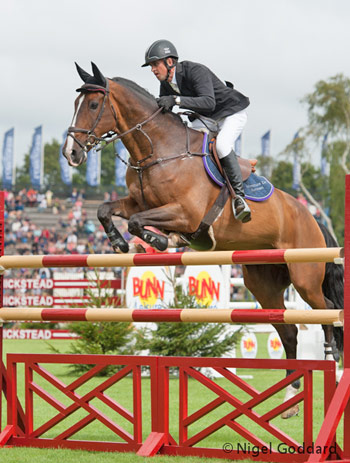 Adventure De Kannan and Trevor Breen jump to the win in the Queen Elizabeth II Cup  at Hickstead.