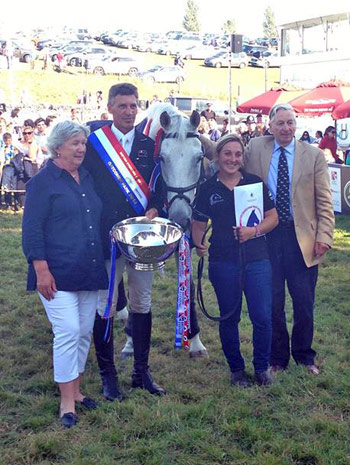 British Open Championship winners Andrew Nicholson and Averbury, with owners Mark and Rosemary Barlow.
