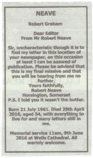 Robert Neave notice