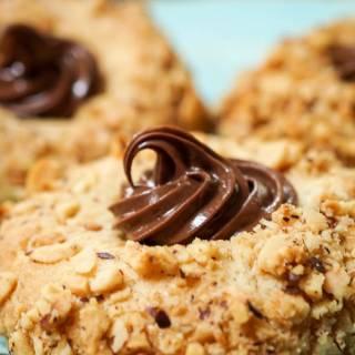 Nutella Filled Hazelnut Thumbprint Cookies - Hostess At Heart