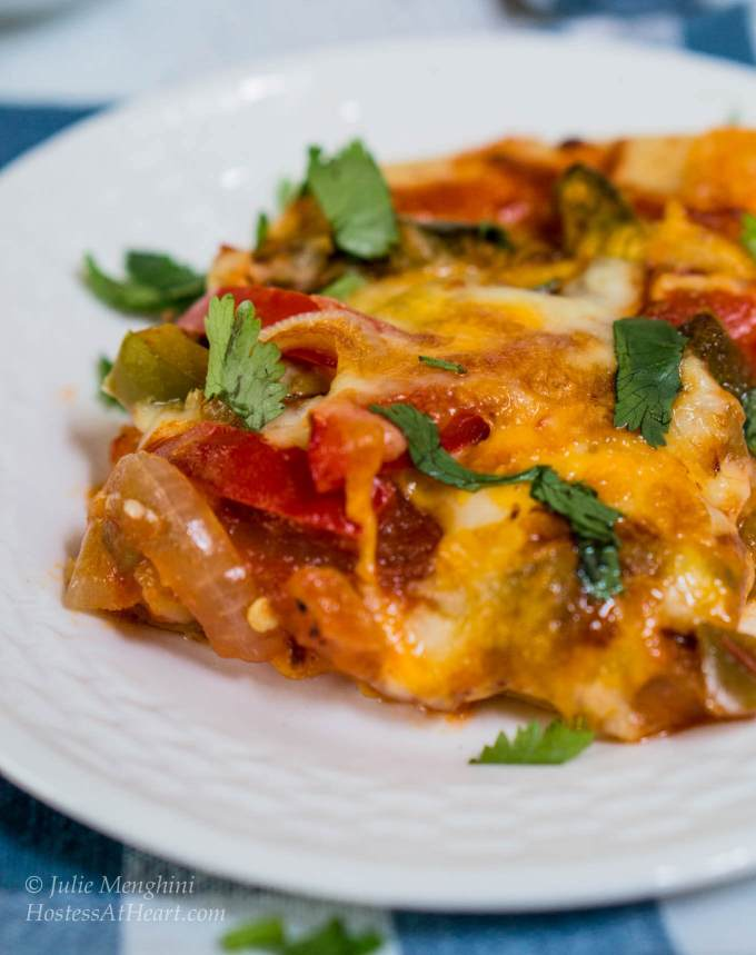 Fajita Pizza is a flavorful recipe that makes a quick and easy meal or appetizer. This is a vegetarian recipe and can be changed to you tastes   HostessAtHeart.com