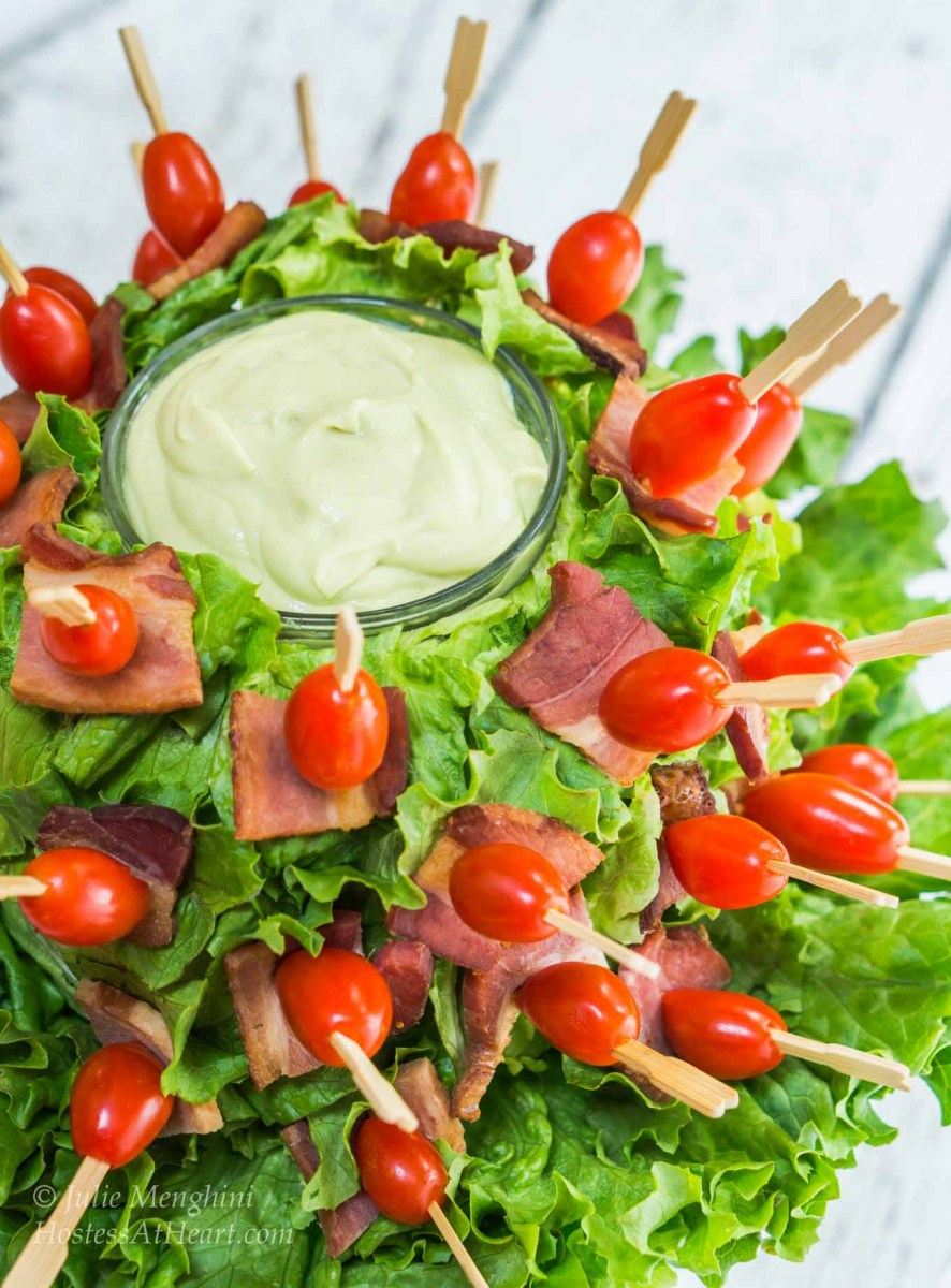 BLT Skewers With Avocado Sauce