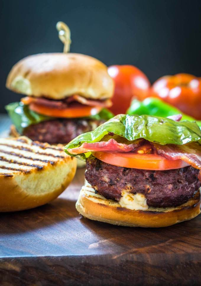 great food hatch chile gruyere burgers with bacon are quick easy