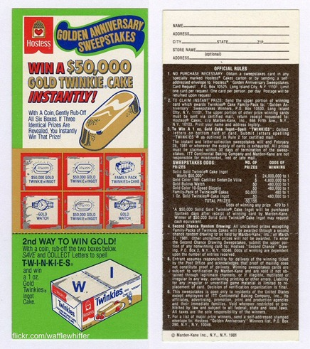 Hostess Golden Twinkie Sweepstakes winner winning ticket