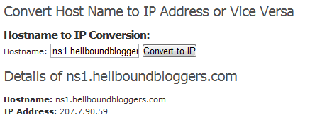 Hostname to IP