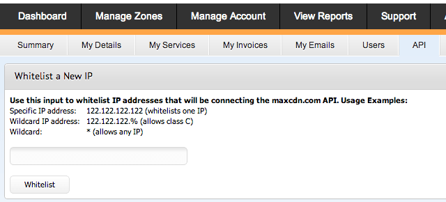 whitelist ip address maxcdn