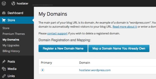 WordPress.com Custom Domain Name Mapping